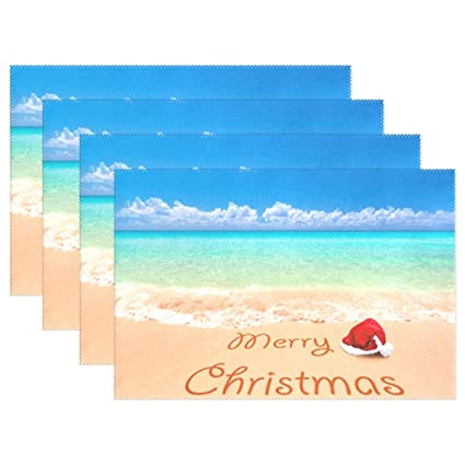 52a1fa4c048b4 Image Unavailable. Image not available for. Color  ALAZA Merry Christmas  Santa Hat On The Beach ...