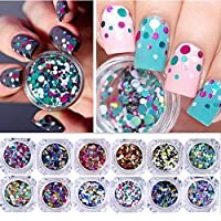 NICOLE DIARY 12 Boxes Nail Glitter Flakes Colorful Round Sequins Paillette Manicure Nail Art Decoration