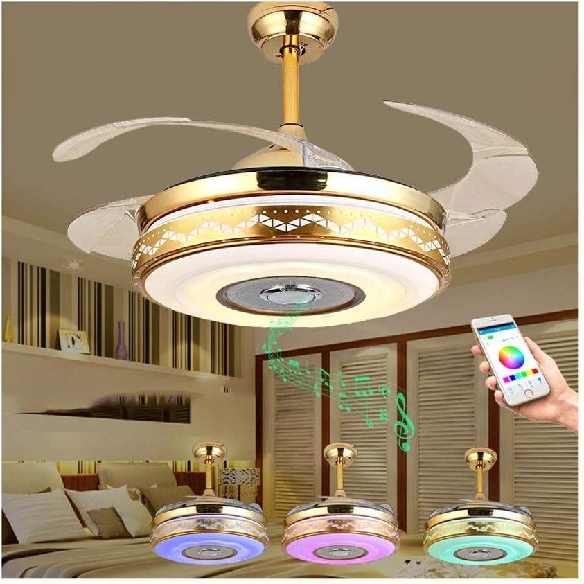 Luz de techo Luz de techo Bluetooth Aspas retráctiles modernas Ventilador de techo con luz y lámpara de techo remota Regulable con altavoz Bluetooth Música Luz de techo Ventilador de lámpara plegable