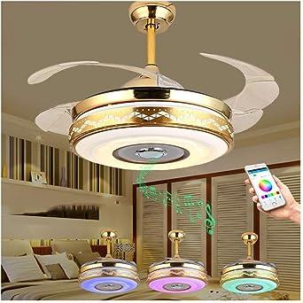 Luz de techo Luz de techo Bluetooth Aspas retráctiles modernas Ventilador de techo con luz y lámpara de techo remota Regulable con altavoz Bluetooth Música Luz de techo Ventilador de lámpara plegable: