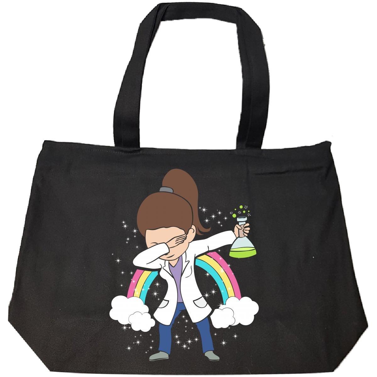 Dabbing Mom Wearing Labcoat Scientist Brown Hair Gift - Tote Bag With Zip