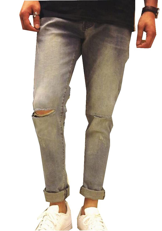 ASL Mens Creative Premium Holes Stylish Wild Bootcut Jean