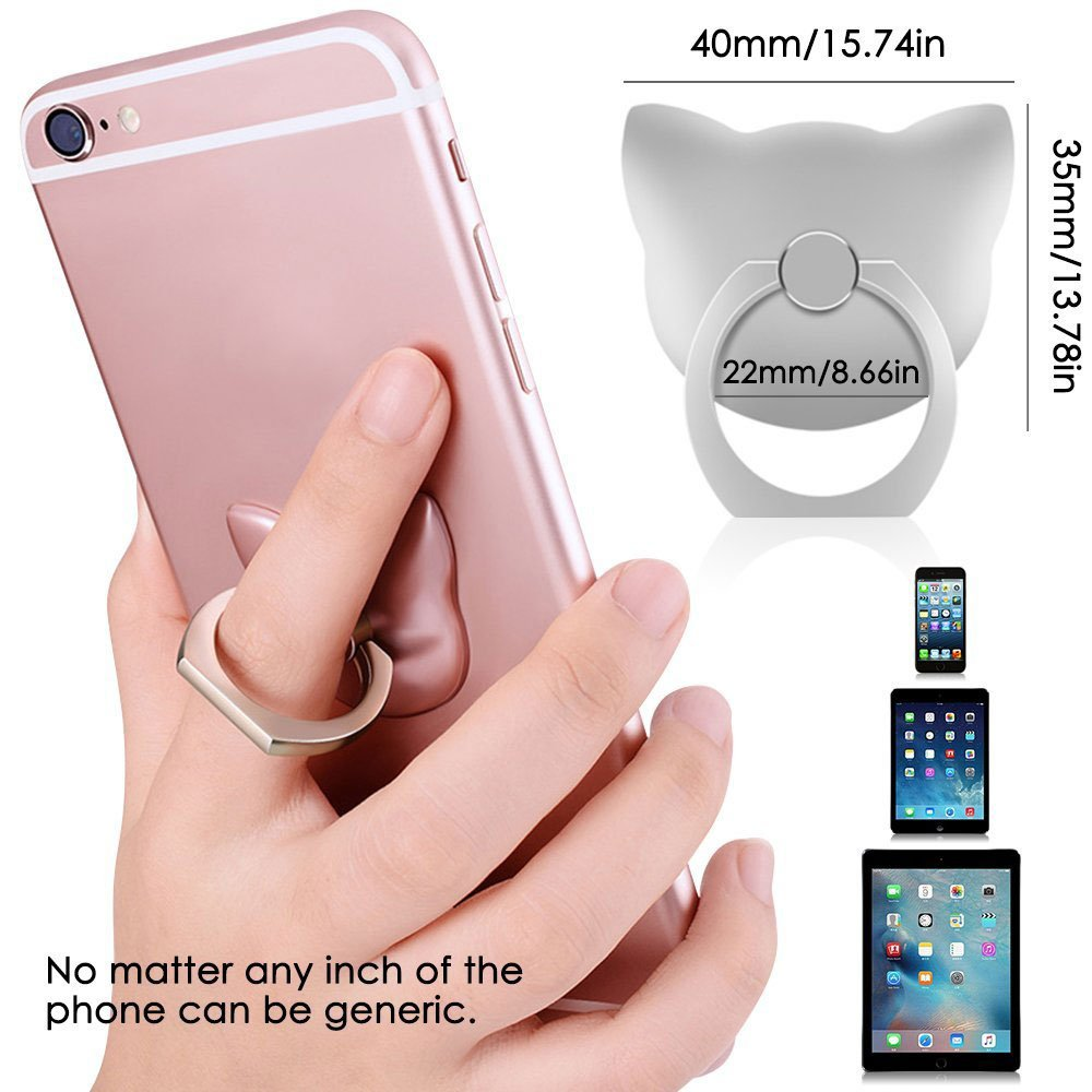 Universal Rotating Ring Grip Stand with Car Mounts Stent for iPhone 8 Plus Gzerma Cell Phone Finger Holder LTD 4351534583 Moto G6 Play Kindle and Other Smartphone Tablet Guangzhou Erma Trade Co Samsung Galaxy S9 + Silver, 4 Pack