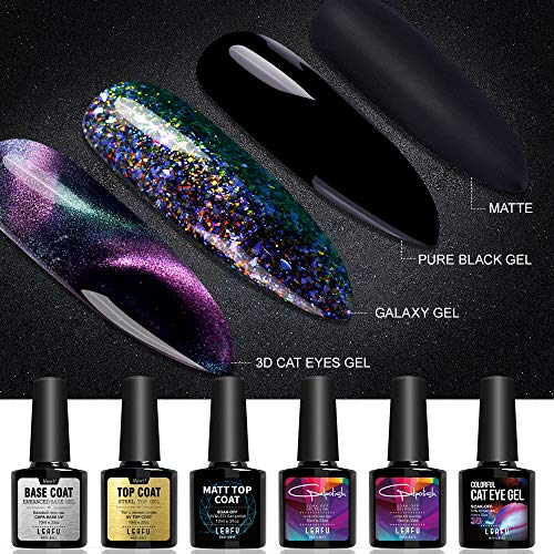 Modelones Gel Nail Polish Set - 3D Cat Eyes Chameleon Gel Polish Galaxy Glitter Gel Polish Matte Top Coat Base Coat Top Coat with 1 Magnet Stick 6pcs 10ml (Best Glitter Top Coat)