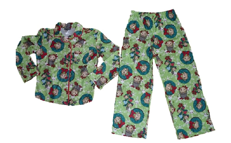 Amazon.com: Girls Joe Boxer Christmas Monkey 2 Piece Flannel Pajamas ...