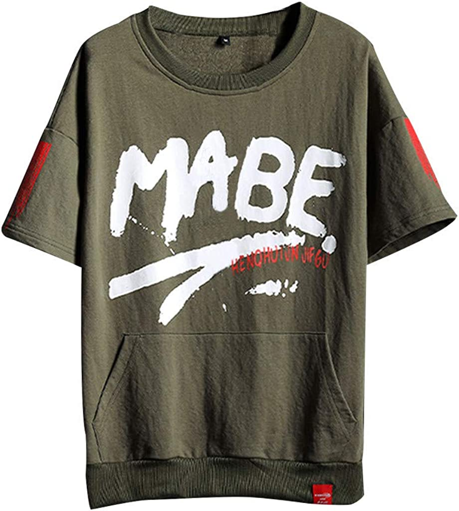 DFHYAR Mens Hipster Hip Hop Casual Crew Neck Short Sleeve Graffiti MABE Cotton T-Shirts