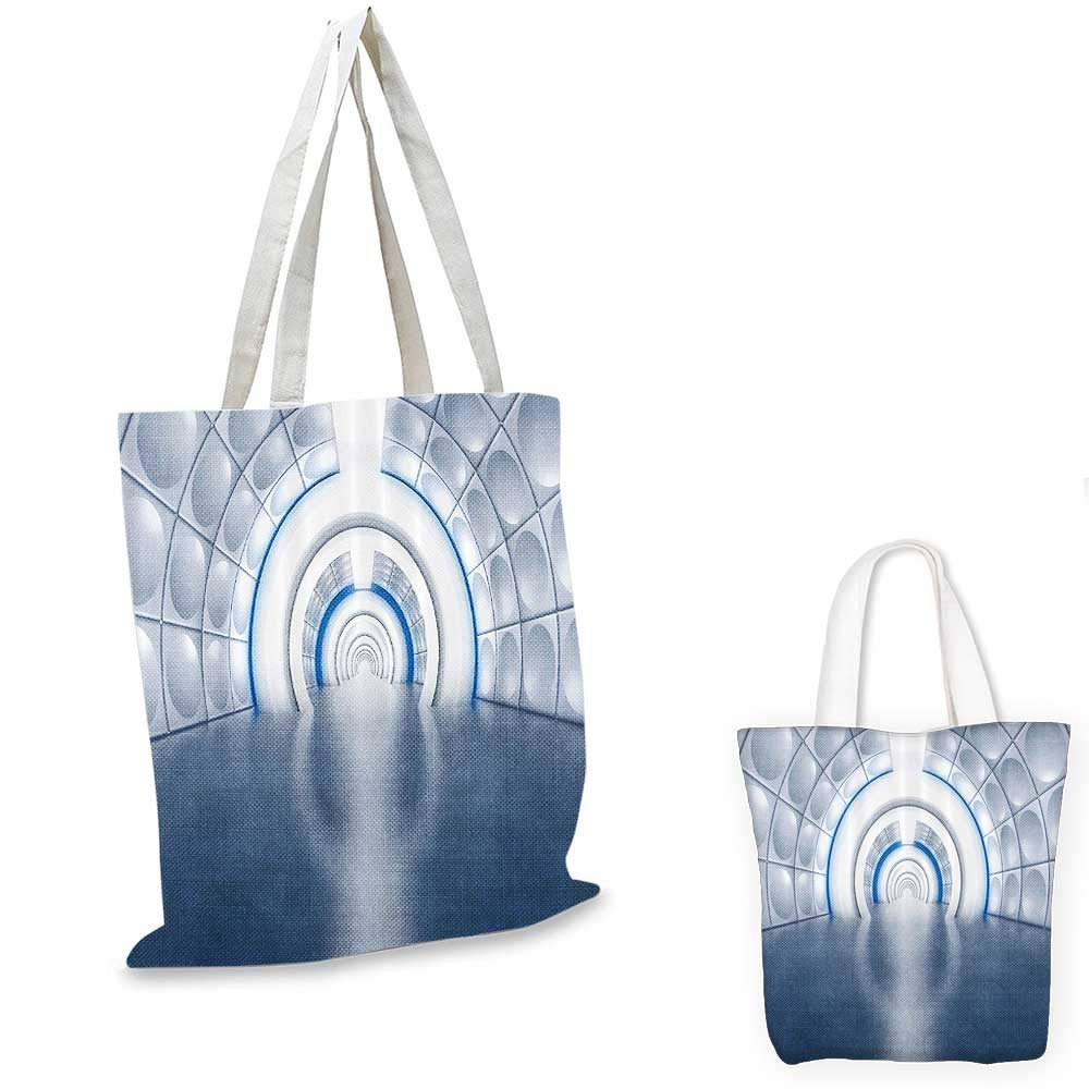 Apartment Decor canvas messenger bag Futuristic Tunnel Like Spaceship Corridor with Lights Subway Spaceship Artwork canvas beach bag es LNavy White 12x15-10