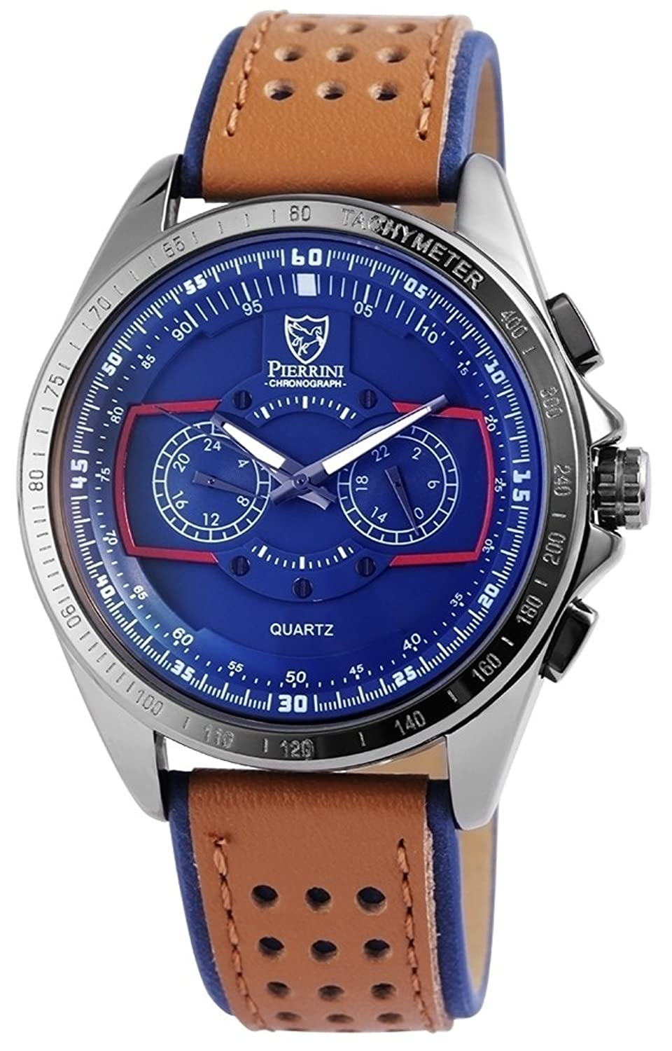 Pierrini Herren Dual Time Armbanduhr Lederband Analog Quarz Blau 291173000003