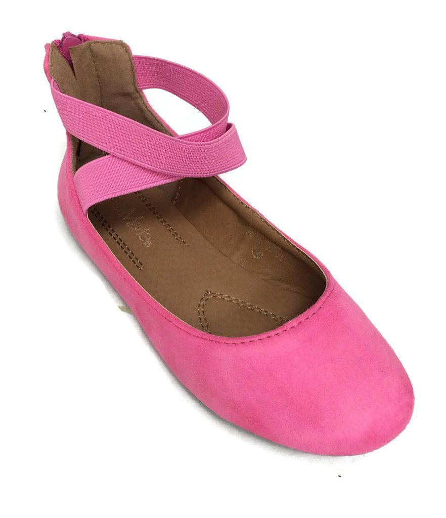 Anna Girl Kids Dress Ballet Flat Elastic Ankle Strap Comfortable Ballerina FUCHSIA Synthetic Suede Shoes 2 US Little Kid