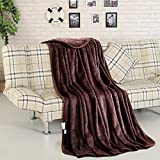 Fleece Throw Blanket Super Soft Warm Luxury 330 GSM Extra Silky Lightweight Bed Blanket, Couch Blanket, Travelling and Camping Blanket (Brown)