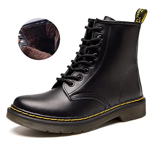 Womens Mens Fashion Round Toe Martin Boots Lace Up Leather Ankle Boots Motorcycle Shoes Winter Combat Boots
