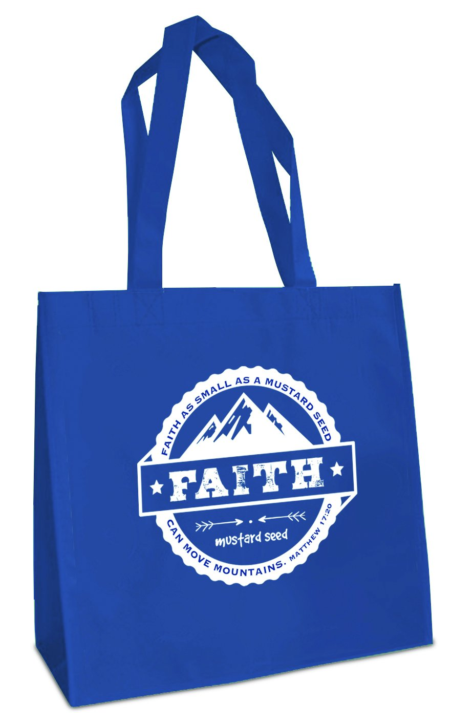 Faith Moves Mountains Blue 12 x 12 Inch Reusable Eco-Friendly Tote Bag Pack of 4