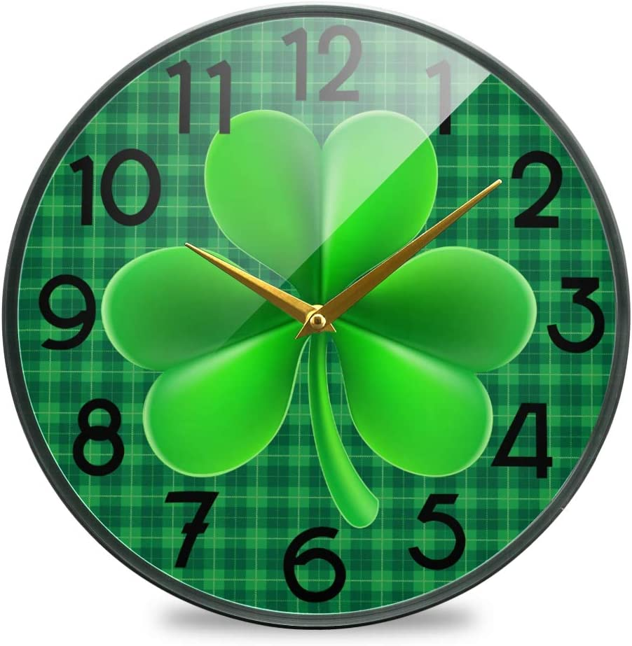 Wamika St Patrick's Day Shamrock Clovers Wall Clock Silent Non Ticking Quality Quartz Green Checkered Plaid Round Clock 10 Inch Battery Operated Easy to Read for Home Kitchen Office Classroom School