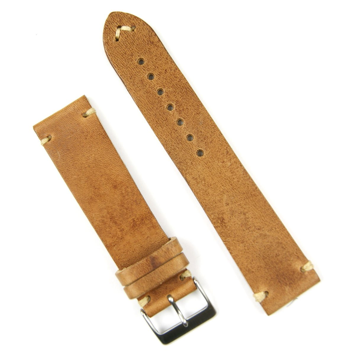 B & R Bands 21mm Oak Classic Vintage Italian Leather Watch Band Strap