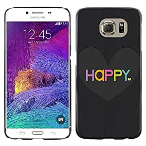 Caucho caso de Shell duro de la cubierta de accesorios de protección BY RAYDREAMMM - Samsung Galaxy S6 SM-G920 - Love Heart Black Brushed Colorful