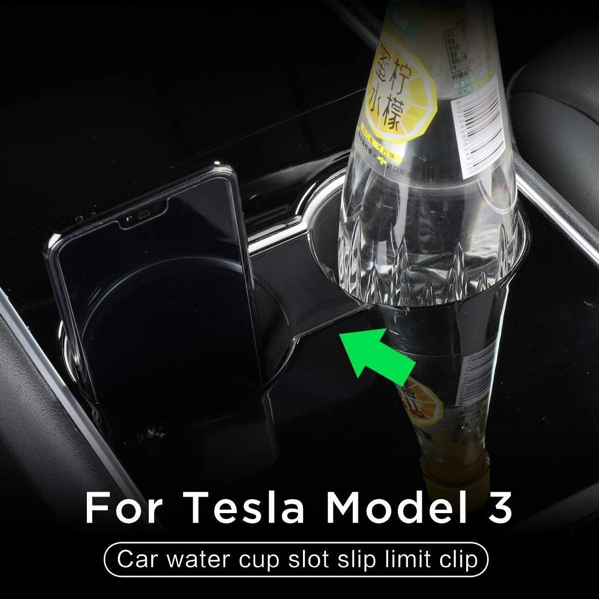 L/&U Voiture Tasse deau sous Slip Limit Clip pour Tesla Model 3 2017-2019 ABS Voiture Porte-gobelet limiteur