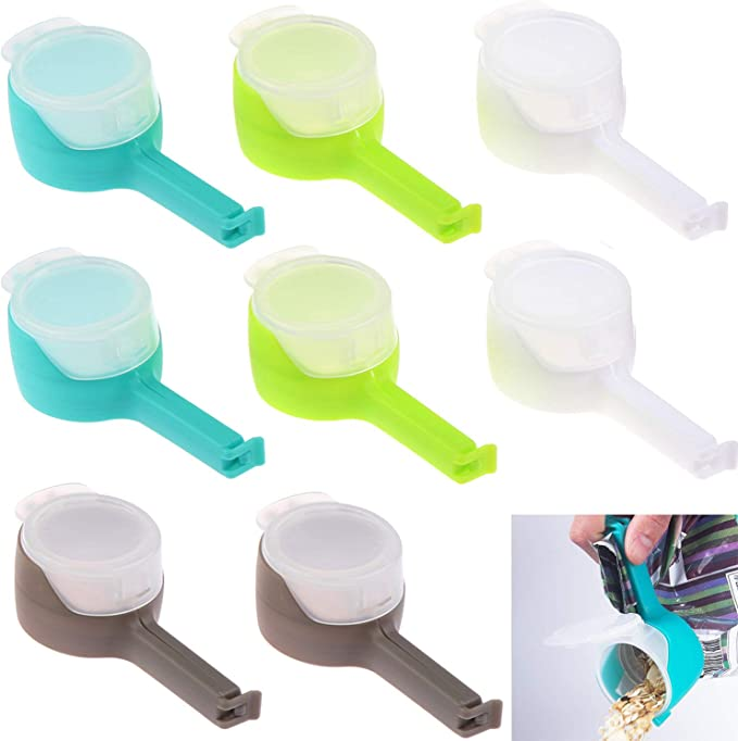 Amazon.com - WayJaneDTP Food Storage Sealing Clips with Pour Spouts, 8Pcs Kitchen Chip Snack Bag Clip Moisture Sealing Clamp Food Saver for Kitchen Food Storage -