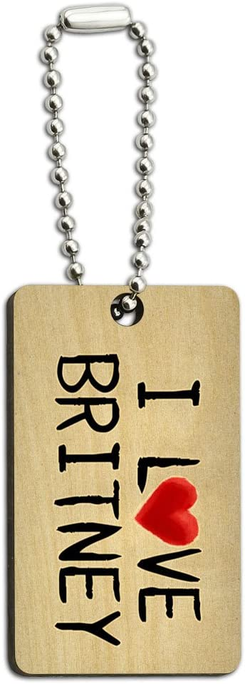 Graphics and More I Love Britney Written on Paper Wood Wooden Rectangle Key Chain