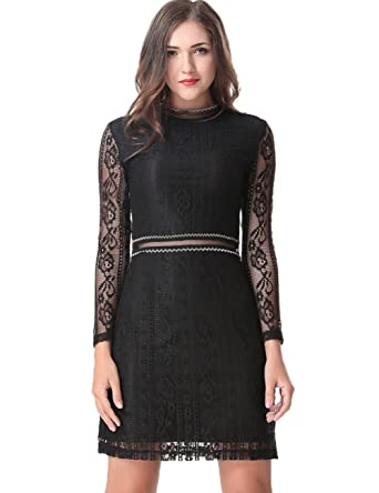 27e3fd81ce Aphratti Women s Slim Fit Long Sleeve Lace Cocktail Mini Party Dress Black  Small
