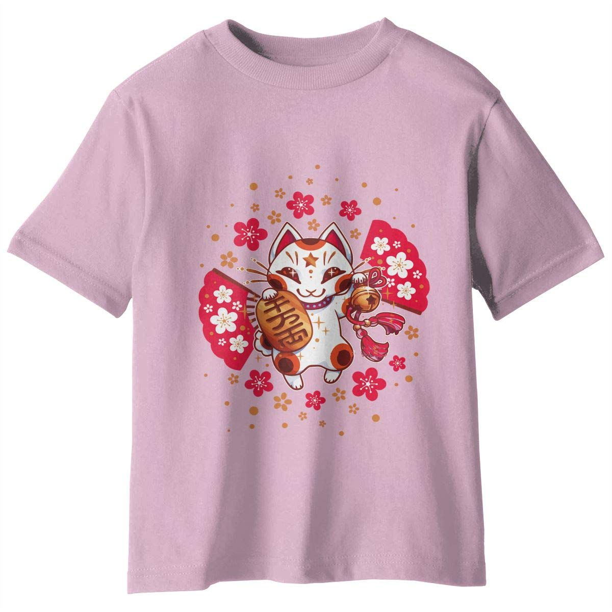 Japanese Lucky Cat Boys Girls Infant Classic 2-6Year Old Short Sleeve Crewneck T-Shirt Tops