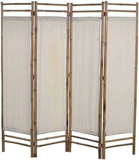 vidaXL Folding 4-Panel Room Divider Sturdy Versatile Bathroom Bedroom Partition Privacy Screen Bamboo and Canvas 63