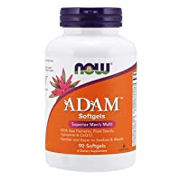 NOW Supplements, ADAM Men's Multivitamin with Saw Palmetto, Plant Sterols, Lycopene & CoQ10, 90 Softgels