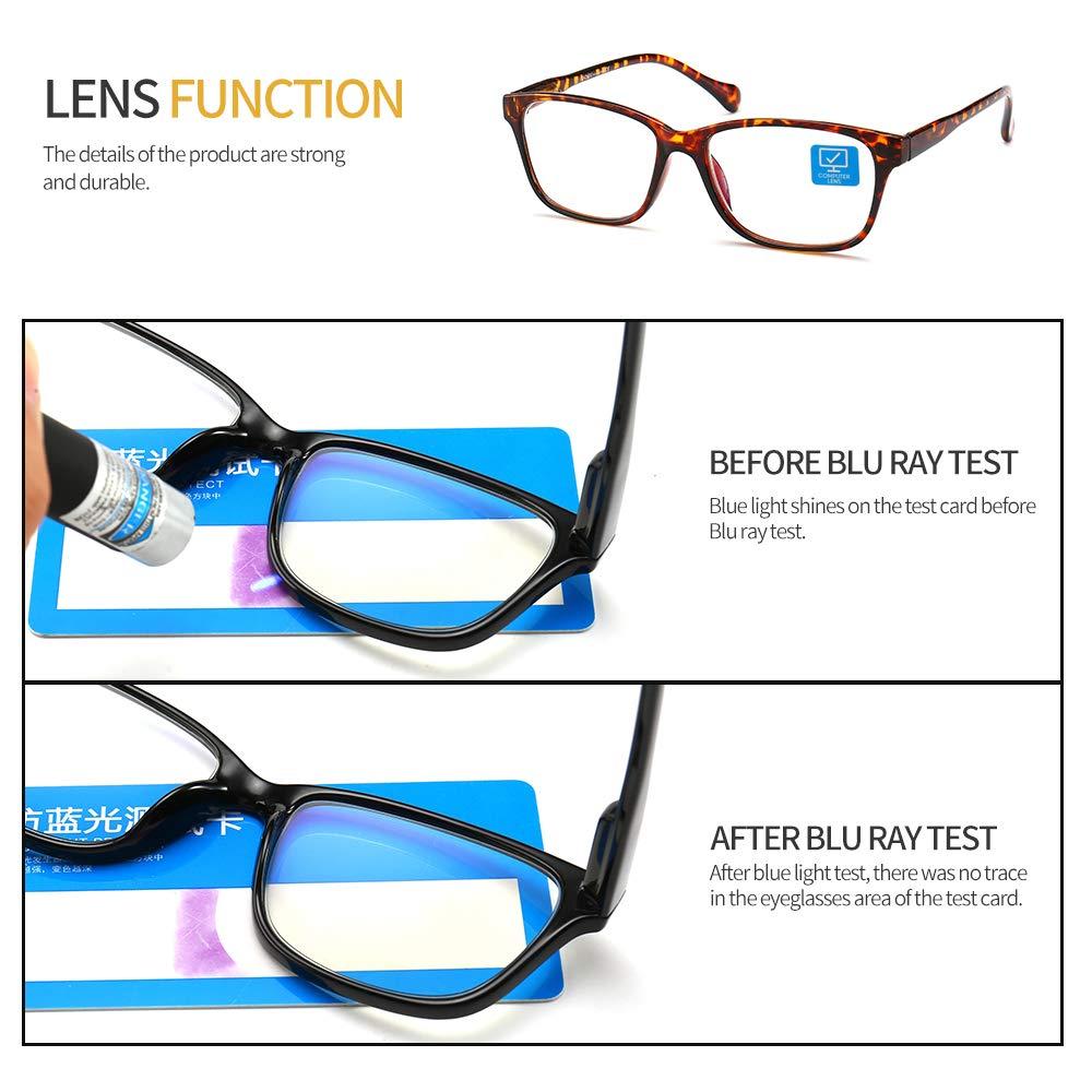 K KENZHOU Blue Light Blocking Computer Glasses 2 Pack Anti Eye Eyestrain Unisex(Men/Women) Glasses with Spring Hinges UV Protection Twilight and Blue by K KENZHOU (Image #3)