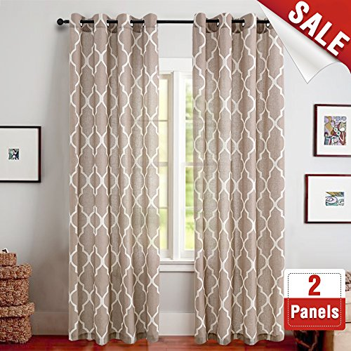 Linen Curtains for Living Room Curtain - Quatrefoil Flax Linen Look Lattice Moroccan Tile Print Window Treatment Set for Bedroom Geometry - 63 inch Long - (Taupe, Set of 2 Panels)