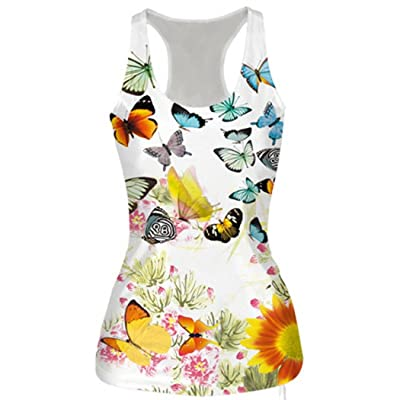 CieKen Womens Summer Tops Sleeveless Slim Print Vest Tank Bodysuit T-Shirt Blouse