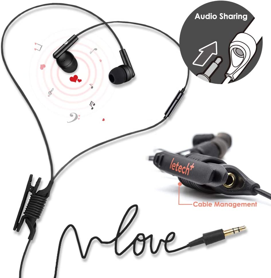 ISHARE in-Ear Wired Earbuds Headphone with Mic and Remote,Audio Splitter,Stereo Sound for iPhone Android Devices (Free Style Black)