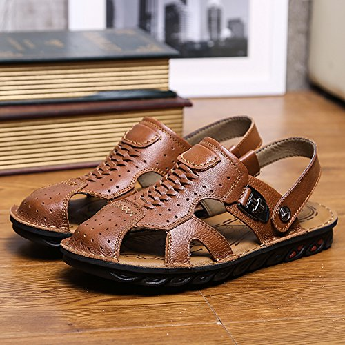 Shoes Sandals Closed Slipper Summer Fisherman Men Toe Leather Brown Sandal Fashion GOMNEAR SIvwqv