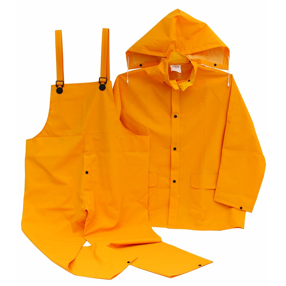 LEGENDFORCE 2499610 Three Piece Yellow Rainsuit with Detachable Hood, Jacket And Bibb Pants, Large