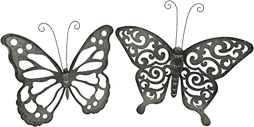 Zeckos Galvanized Finish Open Work Butterfly Set of 2 Metal Wall Hanging