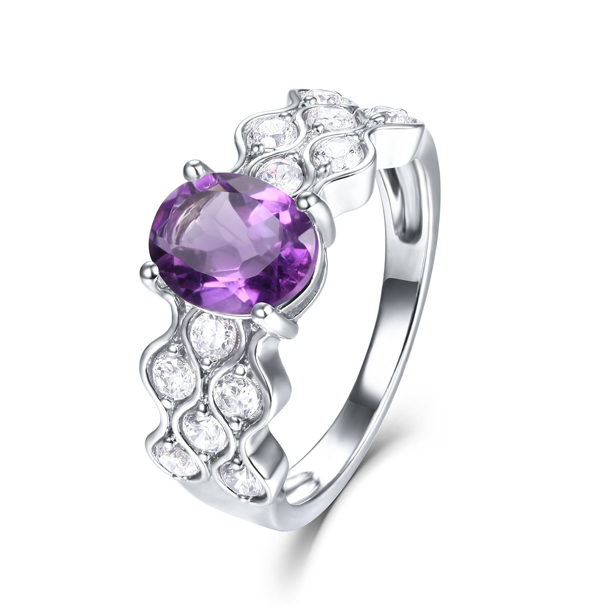 EL UNO 925 Sterling Silver February Birthstone Purple Amethyst Cubic Zirconia Promise Rings for Her Women Engagement Wedding Bands Rings
