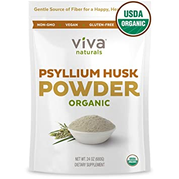 Viva Naturals Organic Psyllium Husk Powder, 24 oz (1 5 lb) Fiber Supplement  - Perfect for Keto Bread
