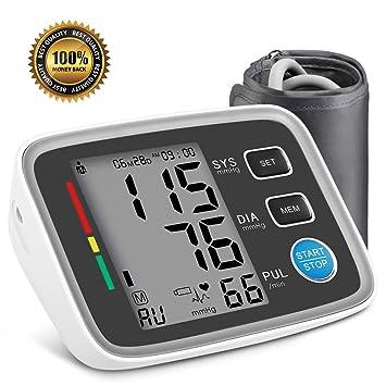 Tensiómetro de brazo digital, AlphagoMed Powered by Hizek Monitor de Presión Arterial para el Brazo Superior, con Automática de la Presión Arterial y ...