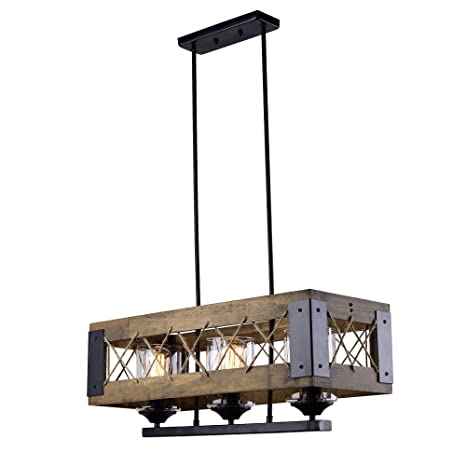 LALUZ Wood Kitchen Island Lighting Light Pendant Lighting - Three light pendant kitchen