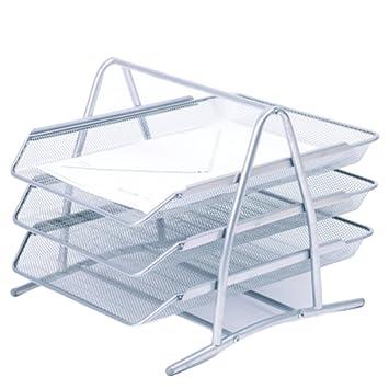 Alegría 3 Tier apilable oficina carta bandeja organizador de escritorio metal Triple capa soporte de almacenamiento
