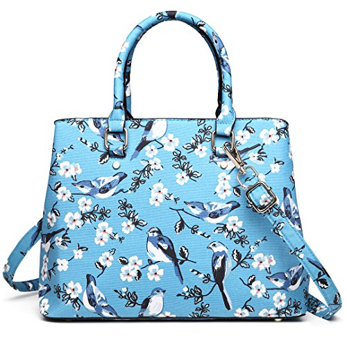 Handbag Blue Lulu Miss Pattern Handle New 16j Birds Multi Flower Compartments Trendy 1755 Top Women Bags for PagnPTr
