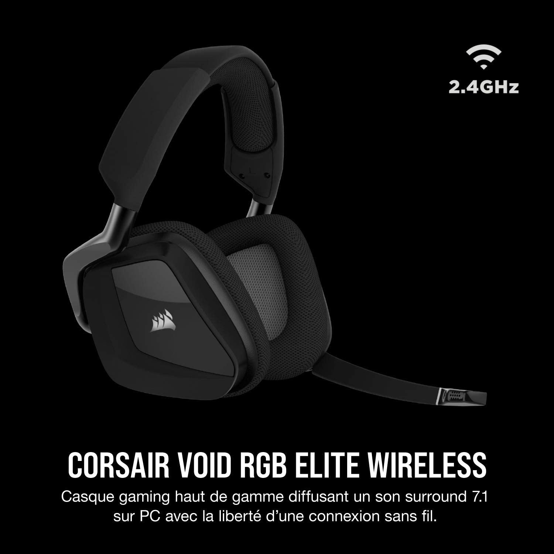 Corsair CA 9011201 EU VOID ELITE RGB Wireless Casque de Gaming Son surround 7.1, Sans fil 2,4 GHz à faible latence, 12 mètres Portée, Customisable