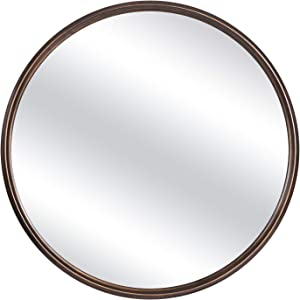 OKQ Round Wall Mirror Retro Large Wallmounted Mirror Antique Copper Framed Mirrors for Living Room,Home Decor, Bathroom, Living Rooms, Entryways