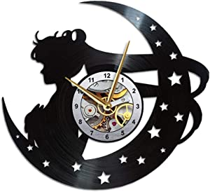 AroundTheTime Sailor Moon Vinyl Wall Clock, Gift Decor