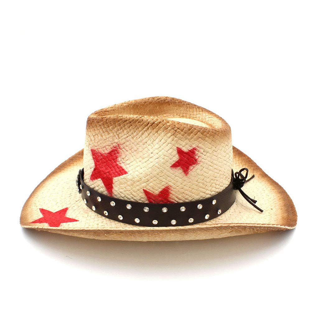 YLY Mens Straw Western Cowboy Hat with Punk Leather Band Handmade Weave Sombrero Hombre Cowgirl