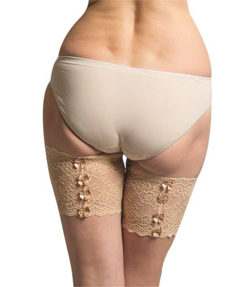 CREE Women Sexy Lace Anti-Chafing Thigh Bands with Bowknots - Prevent Inner Thigh Chafing with No-Slip Silicone FLESH-D
