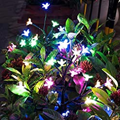 Garden and Outdoor Solar Garden Decorative Lights Outdoor,2 Pack Beautiful LED Solar Powered Fairy Landscape Tree Lights,Two Mode Flower… outdoor lighting