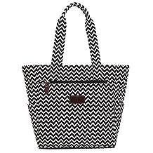 Boence Women's Canvas Zippered Tote Beach Bag Shoulder Hand Bag Large Capacity Shopper Weekender School Gym Travel Bag (Wave)