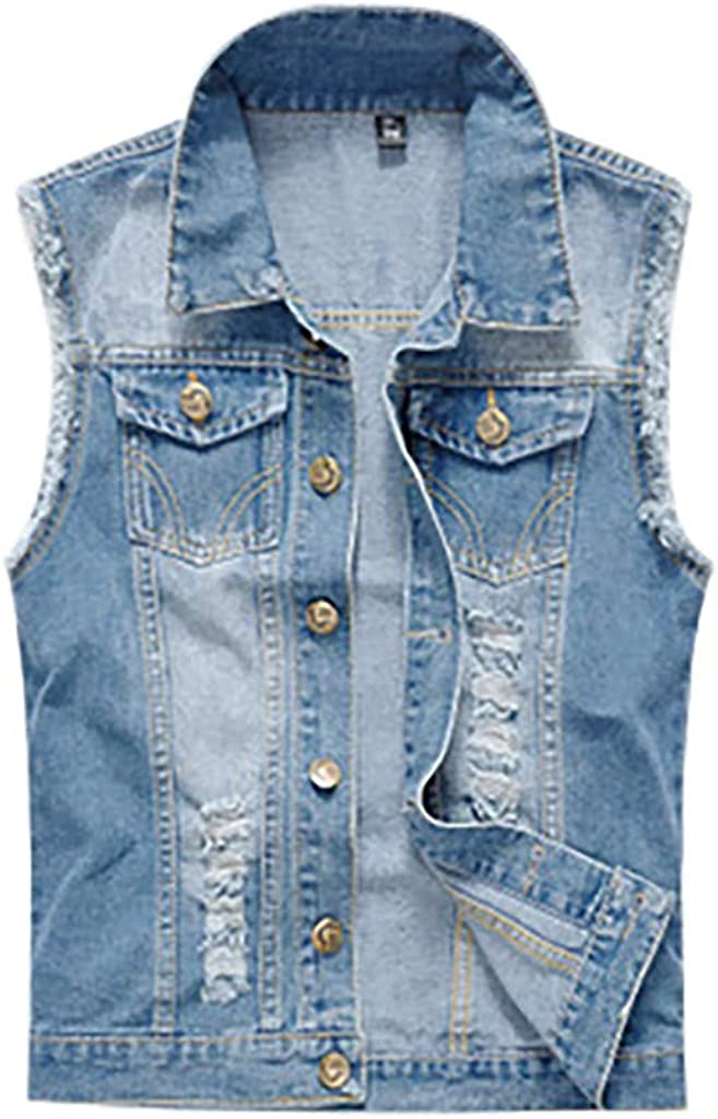FashionMille Women Button Up Sleeveless Distressed Jean Denim Vest Jacket