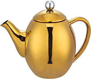 1.3qt Double Walled Insulated Polished Stainless Steel Teapot Gold