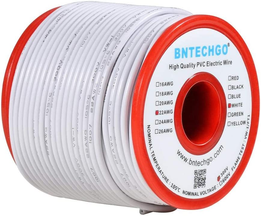 BNTECHGO 22 AWG 1007 Electric Wire 22 Gauge PVC 1007 Wire Stranded Wire Hook Up Wire 300V Stranded Tinned Copper Wire Black 100 ft Per Reel for DIY