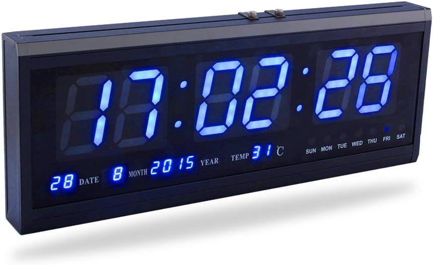 Fdit LED Reloj Digital Grande con Tiempo Calendario Fecha y Temperatura Indicación Reloj de Escritorio para Hogar Oficina Restaurante Aeropuerto Banco (Rojo/Azul/Verde) (Azul)